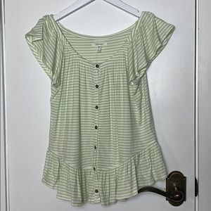 NWT Maurice's lime green/white top size XS